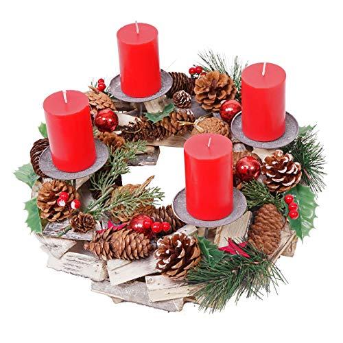 Mendler Adventskranz HWC-H49, Weihnachtsdeko Adventsgesteck Weihnachtsgesteck, Holz rund Ø 33cm ~ inkl. 4X Kerzen rot