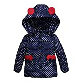 Deloito Fashion Kids Baby Girls Thick Hooded Coat Padded Dot Bow Winter Jacket Clothes Quilted Puffer Clothes Cute Dark Blue, 100(M:Age:3T)