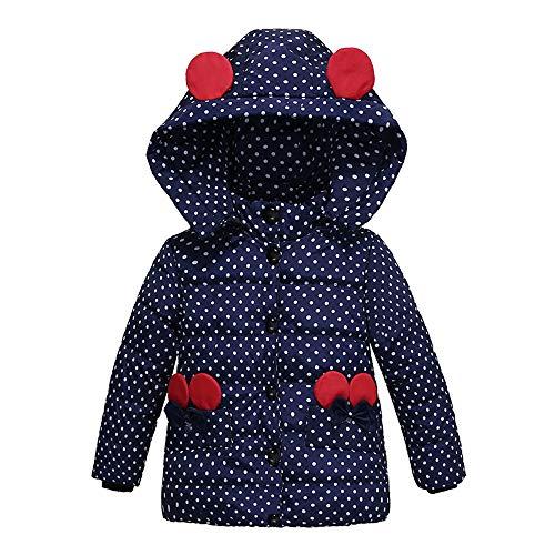 XXYsm XXYsm Mantel Winter Baby Mädchen Polka Dots Jacke mit Kapuze mit Ohren Warme Steppjacke Dunkelblau 90/18-24 Monate