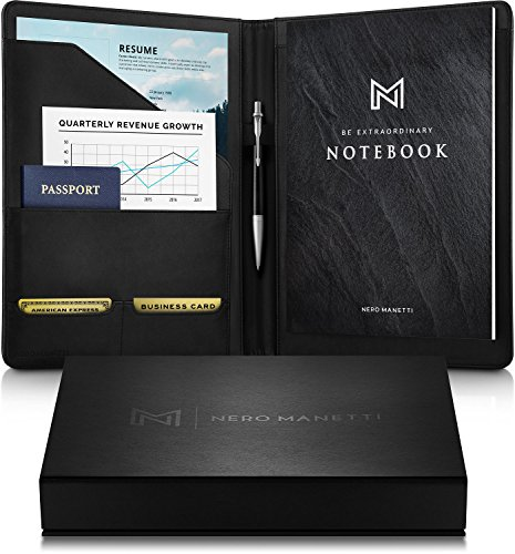 NERO MANETTI- Leather Portfolio Folder - Business PU Leather Portfolio...
