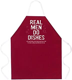 Attitude Aprons Fully Adjustable Real Men Do Dishes Apron, Maroon