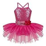 inhzoy Vestido Tutu de Danza Lentejuelas para Niña Maillot de Ballet Gimnasia Rítmica con Falda Leotardo de Patinaje Baile Vestido Elegante Fiesta Rosa Rojo C 5 años