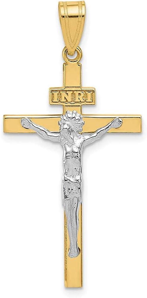 Minneapolis Mall 14k Superior Two Tone Gold INRI Pendant Crucifix
