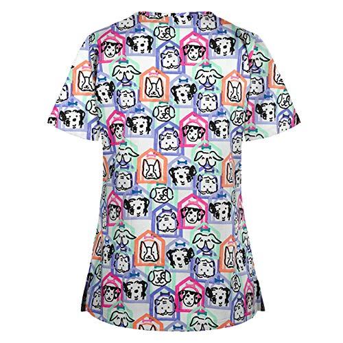 PJQQ Scrubs Uniforms Women,Bambina Casacca Infermiere Divisa Infermiere da Donna a Manica Corta Scollo V Camici da Lavoro Donna,Bianco,Cotone, Estetista,parrucchiera, Alimentari con Tasca