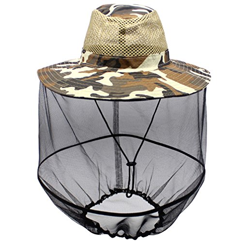 Luwint Mosquito Head Net Hat, Camo Sun Hat Beekeeper Hat with Insect Repellent Netting Protection from Bug Bee Mosquito for Outdoor Fishing Gardening Camping Hiking Beekeeping (Yellow Camo)