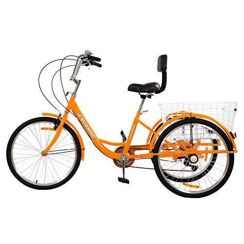 R.ROARING Adult Tricycles Three Wheel Trike Bike Cruiser 7 Speed, 24 inch Wheels, 3 Wheel Bicycles Cruise Trike with Cargo Basket for Seniors, Women, Men (Orange)