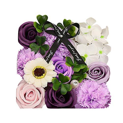 Andouy 1 Schachtel Blumen Duftende Blume Badeseife Plant ätherisches Öl Seife für Jahrestag/Geburtstag/Valentinstag/Muttertag(15x15x8cm.Lila-1)