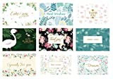 Thank You Cards with Envelopes,Greeting Gift Cards,Bulk Assorted Postcard Set for Notes,Weddings,Businesses,Teacher,Bridal,Baby Showers,9-PACK Unique Designs Flamingo Series 7.5 x 5.5 In (Multi-FGO)