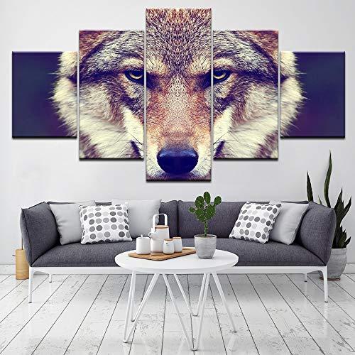 5 Panel Hd Gedruckt Tiere Poster Malerei Wolf Kopf Leinwanddruck Kunst Moderne Wohnkultur Wandkunst Bild Für Wohnzimmer Kunstwerk(With Frame size)