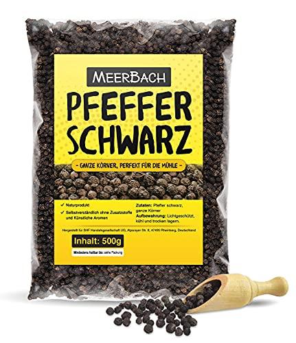 Pfeffer schwarz, ganz • 500g Pfefferkörner schwarz • Schwarzer Pfeffer perfekt für die Pfeffermühle