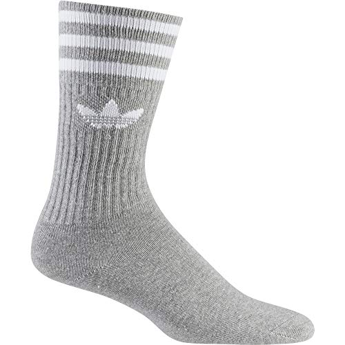 adidas Solid Crew Socks 3-Pack Medium Grey Heather White 43-46