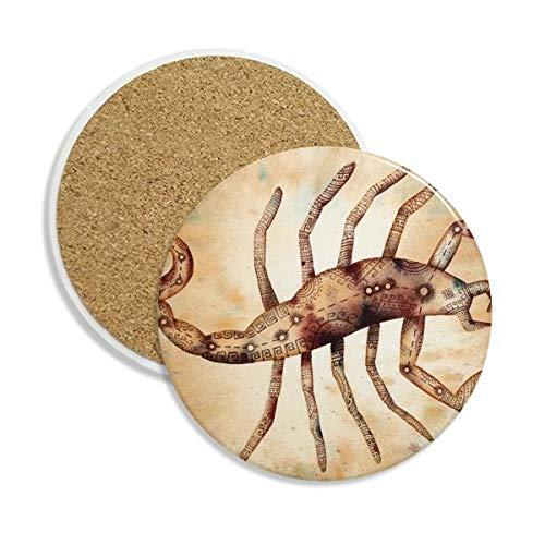 DIYthinker November Oktober Schorpioen sterrenbeeld Zodiac Keramische Coaster Cup Mok Houder Absorbens Steen voor Drinks 2 stks Gift