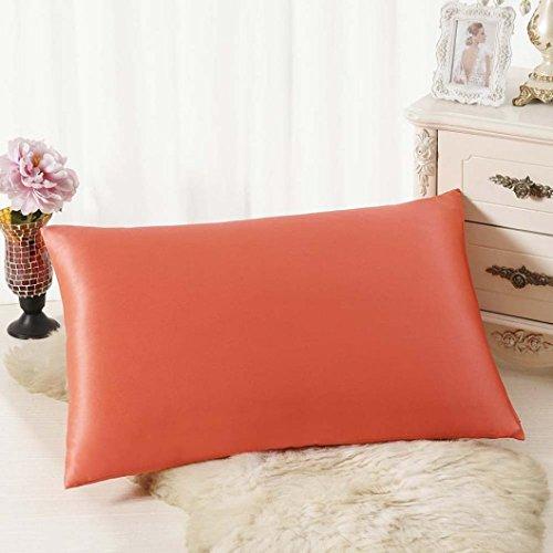 Lavany couvertures de taie d'oreiller décoratifs, rectangulaire Housse de Coussin en Soie Couvre-lit Taie d'oreiller Taie d'oreiller 30 Cm50 cm, Orange, 30cm*50cm