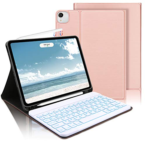AVNICUD Keyboard Case for iPad Air 4th Generation 10.9 Inch 2020/iPad Pro 11 Inch 2020/2018, Bluetooth German QWERTZ Illuminated Removable Keyboard with Protective Case and Pencil Holder