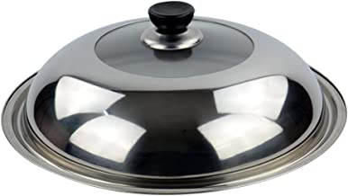 BESTONZON 34cm Multifunctional Cooking Wok Pan Lid Stainless Steel Pan Cover Visible Replaced Lid for Frying Wok Pot Dome Wok Cover