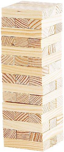 Playtastic Holzturm Spiel: Geschicklichkeitsspiel Wackelturm mit 48 Spielsteinen aus Holz (Holz Spiel)