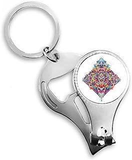 DIYthinker Diamond Playing Cards Geometric Pattern Key Chain Ring Toe Nail Clipper Cutter Scissor Tool Kit Bottle Opener Gift