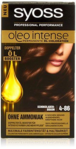 Syoss Oleo Intense Lot de 3 colorations capillaires 4-86 Marron chocolat (3 x 115 ml)