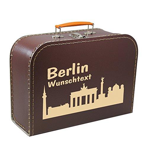 Pappkoffer 45 cm braun mit Skyline Berlin und Wunschname, Geschenkkoffer, Geschenk, Stadtkoffer, Städtekoffer