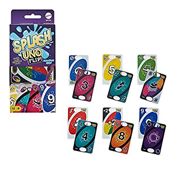 UNO Flip Splash Matching Card Game Featuring 112 Water Resistant 2-Sided Cards Game Night Gift Ages 7 Years & Older