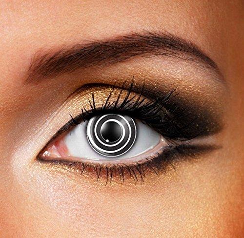 Funky Vision Kontaktlinsen - 3 Monatslinsen, Black Spiral, Ohne Sehstärke, 1 Stück