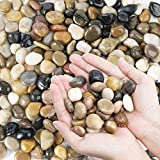 OUPENG Pebbles Polished Gravel, Natural Polished Mixed Color Stones, Small Decorative River Rock Stones 2 Pounds (32-Oz)