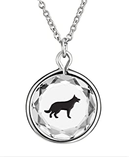 LovePendants Engraved and Enameled Swarovski Crystal German Shepherd Pendant/Necklace in Sterling Silver