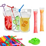 100 Pcs Drink Pouches with 100 Straws, YouCoulee Juice Pouches with 30Pcs Disposable Freezable Ice Popsicle Mold Bags, Drink Pouches for Adults and Kids, Clear Pouch for Cold & Hot Drinks