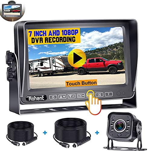 RV Backup Camera AHD 1080P, 7 Inch Touch Key DVR...