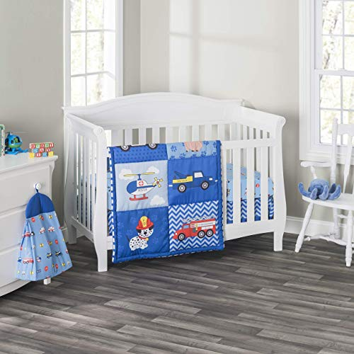 Everyday Kids 3 Piece Boys Crib Bedding Set - Little Rescuer - Includes Quilt, Fitted Sheet and Dust Ruffle - Nursery Bedding Set - Baby Crib Bedding Set