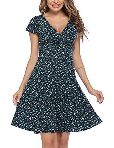 Beyove Damen Jersey Kleid Blumen Skaterkleid V-Ausschnitt Sommerkleider Muster Jerseykleid Sexy Kurz oder Langarm Grün XL