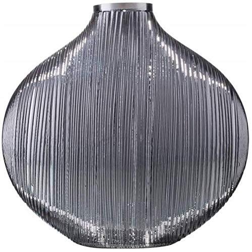 Flat grijze glazen vaas creatief decoratie woonkamer bloemdecoratie tafel bloem bloemstuk Home Decoration (Size : Large)