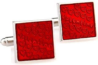 أزرار أكمام MRCUFF على شكل قلب أحمر ومربع لمناسبة عيد الحب في صندوق هدايا وقطعة قماش تلميع