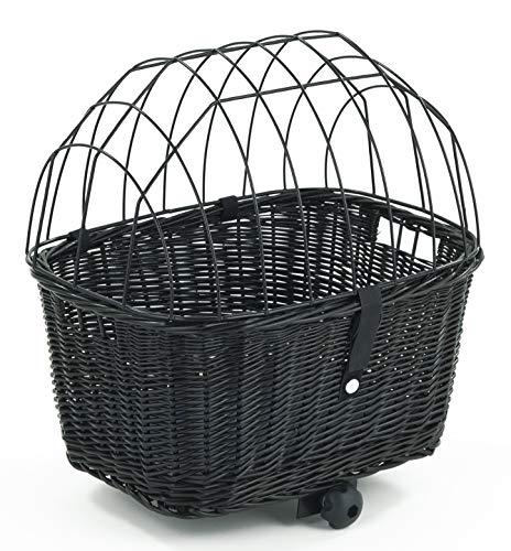 Tigana - Hundefahrradkorb für Gepäckträger aus Weide mit Gitter 44 x 34 cm Eckig Schwarz (S-S) (ohne Kissen)