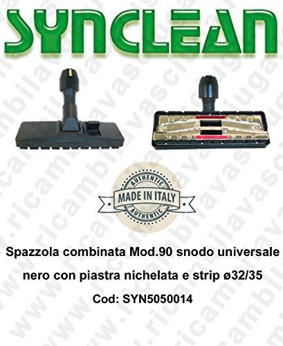 Bürste kombiniert Mod.90Gelenk Universal schwarz mit Platte vernickelt und Strip Ø32/35–synclean–syn5050014