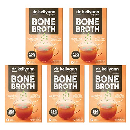 Dr. Kellyann Bone Broth Collagen Powder Packets (35 Servings, 5 Boxes), 100% Grass-Fed Hydrolyzed Collagen Powder for Keto, Paleo & Weight Loss Diets