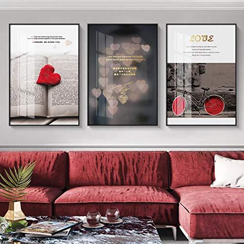 Pintura en lienzo carteles de citas e impresiones lienzo nórdico pintura artística decoración del hogar imagen artística de pared palabras de amor rojas decoración artística para dormitorio pintura