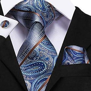 أربطة حرير MUMUWU للرجال كلاسيك بيزنس بلو مخططة ربطة العنق للرجال مجموعة أزرار أكمام فاخرة أزياء للرجال (اللون: C 3110، ال...