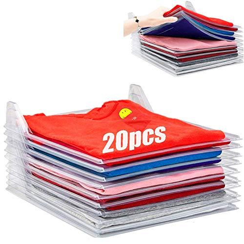 Organizador de Armario Hogar Estantería Camiseta Carpeta Sistema Antiarruga, Tamaño Normal, Transparente (20Pcs)