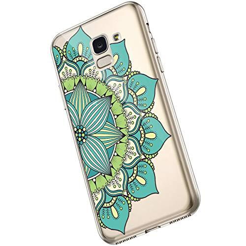 Saceebe Compatible avec Samsung Galaxy A6 2018 Coque Clair Souple TPU Gel Silicone Mandala Fleur Motif Dessin Antichoc Housse de Protection Souple Mince Léger Case Anti-Rayures,Fleur Vert