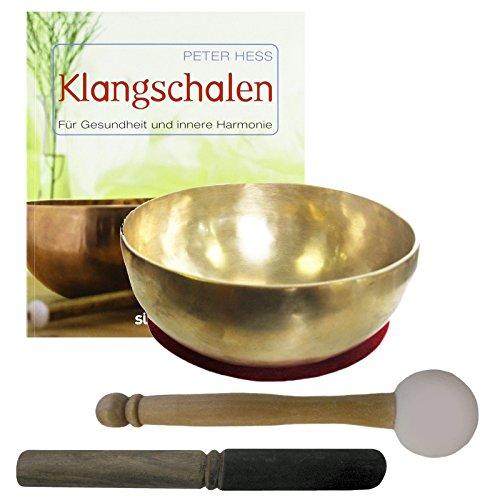 Therapie KLANGSCHALE 600-700g + BUCH Peter Hess 5-tlg Klangmassage SET. KEHLKOPFSCHALE Handarbeit NEPAL. 2 x Klöppel + ZUBEHÖR. 70192-1