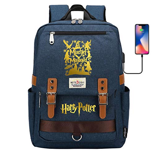 DDDWWW 15.6-inch Laptop Backpack Casual Rucksack Youth Retro Rucksack Outdoor Sports Travel Bag Harrypotter Navy
