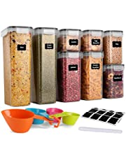 GoMaihe Contenitori Alimentari per Cereali Set 8 Pezzi, Contenitori Ermetici Alimentari Plastica con Coperchio per Alimenti Set, Utilizzato per la Conservazione di Pasta, Cereali, Muesli, Farina