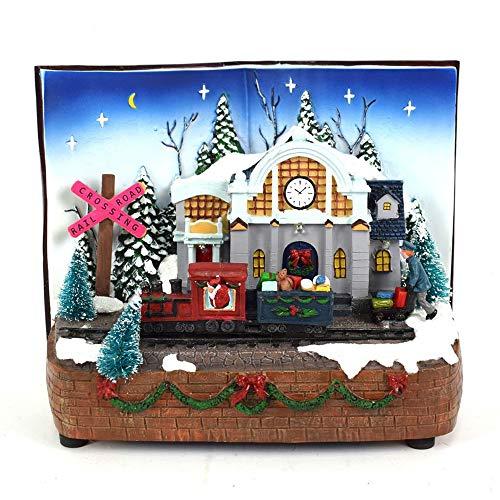 Aurora Store Villaggio Scenario Natalizio Libro con Stazione Treno Natale in Movimento con luci e Musica Paesaggio Natalizio Parco Giochi Dimensioni 25x16x20 cm Musicale Giostrina