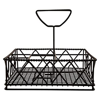 G.E.T Enterprises Black Metal Five Compartment Condiment Caddy Iron Powder Coated Table Caddies Collection 4-931832  Pack of 1