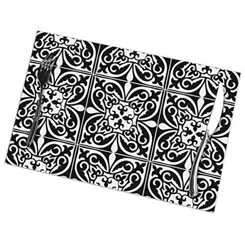 Marokkaanse tegel - wit en zwart Placemat wasbaar voor keuken diner tafelmat, gemakkelijk te reinigen gemakkelijk te vouwen Plaats Mat 12x18 Inch Set van 6