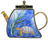 Kelvin Chen Miniature Teapot, Sea Turtle with Sea Weed, Enameled, 3.5 Inches Tall