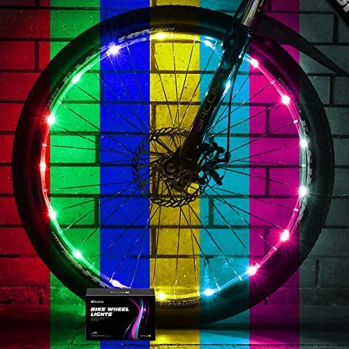 Sumree 2-Tire Pack LED Bike Wheel Lights with USB Rechargeable Battery Bike Lights 16 Modes 7 Colors Changing Over,Get Brighter and Visible from All Angles for Ultimate Safety