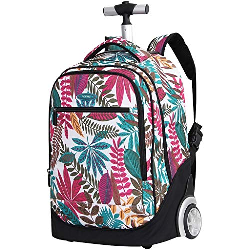 Rolling Backpack for Kids Adults,19 Inch Trolley Backpack with Wheels Wheeled School Bag For Children Teens Travel Laptop Books Bag Multifunction Luggage