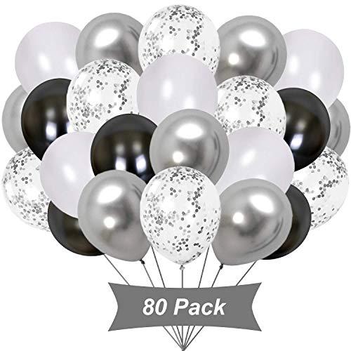 Gxhong 80 Pezzi Palloncini Argento Bianco Nero, Palloncini coriandoli Argento Palloncini in Lattice Palloncini Colorati in Elio per Decorazioni per Feste di Compleanno per Ragazze di Nozze (Argento)